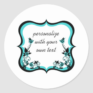 Sassy Floral Frame Stickers, Turquoise Classic Round Sticker
