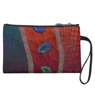 Sassy Florescent Lips Abstract Wristlet Clutch