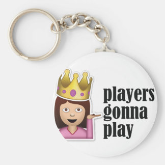Sassy Girl Emoji - Players Gonna Play Basic Round Button Key Ring