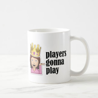 Sassy Girl Emoji - Players Gonna Play Basic White Mug