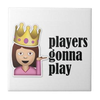 Sassy Girl Emoji - Players Gonna Play Small Square Tile