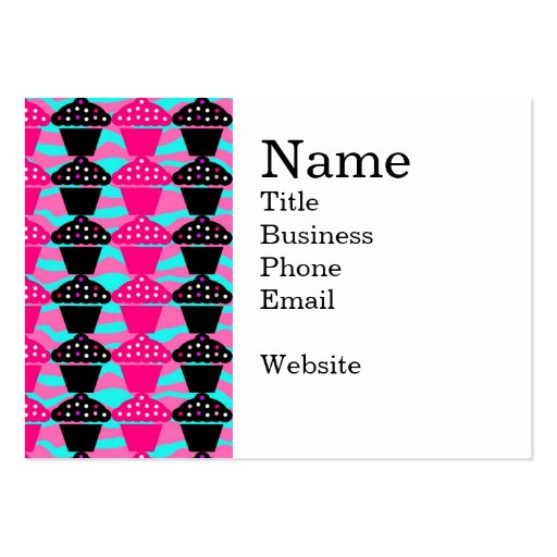 Sassy Hot Pink and Black Cupcake and Zebra Stripe Business Card
