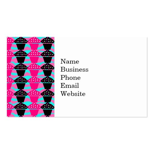 Sassy Hot Pink and Black Cupcake and Zebra Stripe Business Card Templates