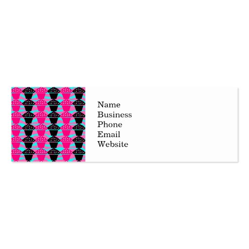 Sassy Hot Pink and Black Cupcake and Zebra Stripe Business Cards