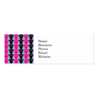 Sassy Hot Pink and Black Cupcake and Zebra Stripe Pack Of Skinny Business Cards