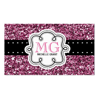 Sassy Hot Pink Glitter Look Ladies Any Profession Pack Of Standard Business Cards