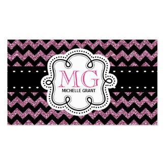 Sassy Hot Pink Glitter Look Ladies Chevron Pack Of Standard Business Cards