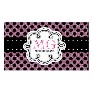 Sassy Hot Pink Glitter Look Ladies Polka Dots Pack Of Standard Business Cards
