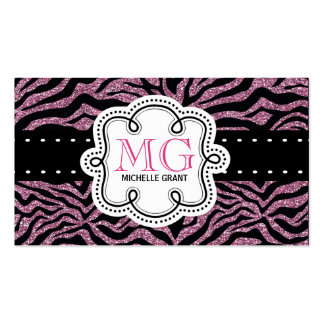 Sassy Hot Pink Glitter Look Ladies Zebra Print Pack Of Standard Business Cards