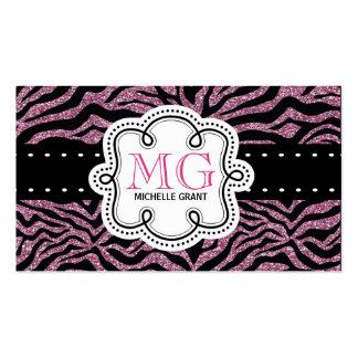 Sassy Hot Pink Glitter Look Ladies Zebra Print Business Cards