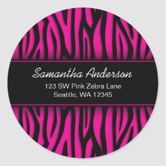 Sassy Hot Pink Zebra Custom Address Label Round Sticker