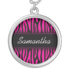 Sassy Hot Pink Zebra Personalised Silver Plated Necklace