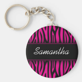 Sassy Hot Pink Zebra Personalized Key Ring