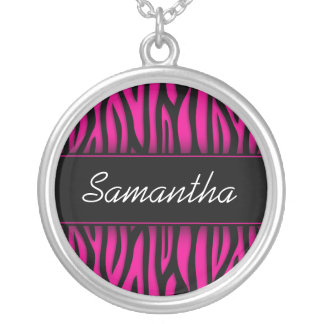 Sassy Hot Pink Zebra Personalized Silver Plated Necklace