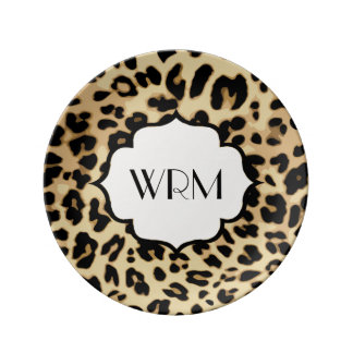 Sassy Leopard Print Monogrammed Plate