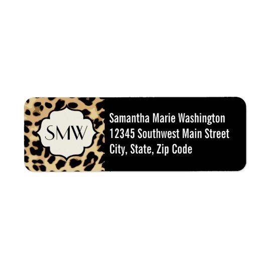 Sassy Leopard Print Monogrammed Return Address Label