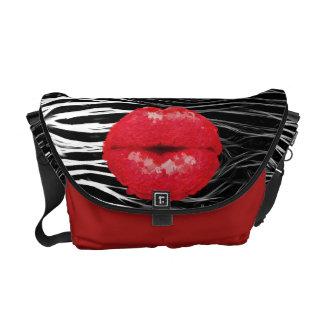 Sassy Lips Animal Print Rickshaw Messenger Bag