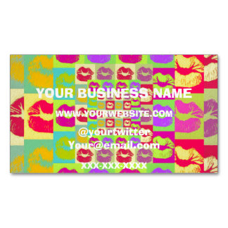 Sassy Lips POP Art Magnetic Business Cards