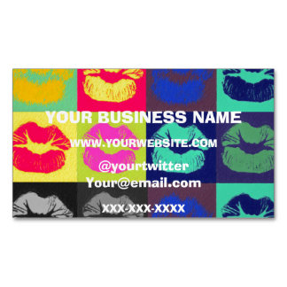 Sassy Lips Tri Colors Magnetic Business Cards