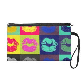 Sassy Lips Tri Colors Wristlet Clutch