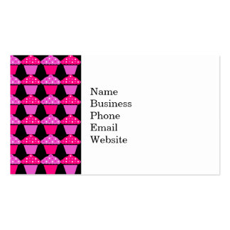 Sassy Pink and Purple Cupcakes on Black Business Card Template