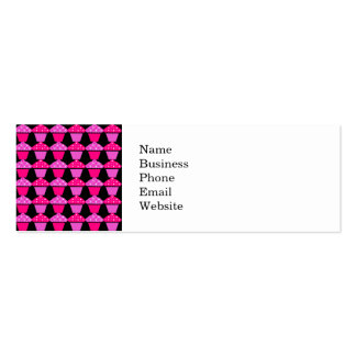 Sassy Pink and Purple Cupcakes on Black Business Card Templates