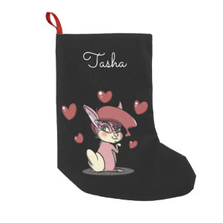 Sassy Pink Bunny Christmas Stocking