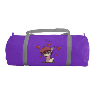 Sassy Pink Bunny Duffle Gym Bag, Purple Gym Duffel Bag