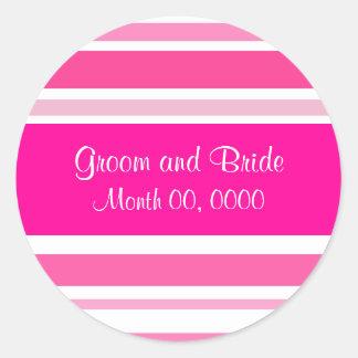 """Sassy Pink Stripe """"Save the Date Sticker"""" Round Sticker"""