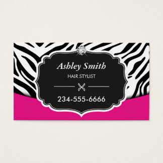 Sassy Pink Zebra Print Hair Stylist Appointment
