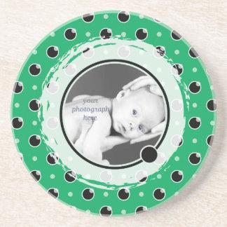 Sassy Polka Dot Photo Coaster - Green