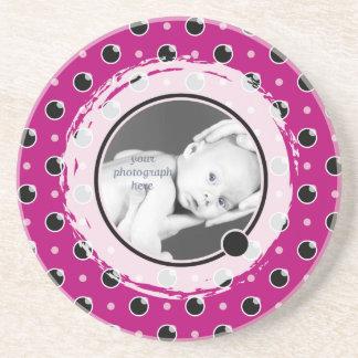 Sassy Polka Dot Photo Coaster - Purple
