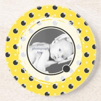 Sassy Polka Dot Photo Coaster - Yellow