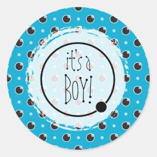 Sassy Polka Dots Baby Boy Sticker - Aqua