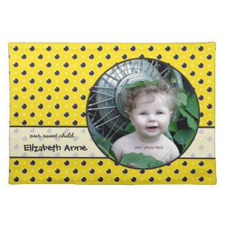 Sassy Polka Dots Photo Placemat - Yellow