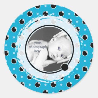 Sassy Polka Dots Photo Template Sticker - Aqua