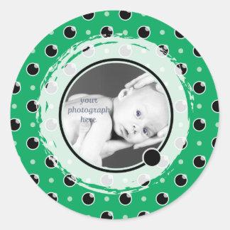 Sassy Polka Dots Photo Template Sticker - Green