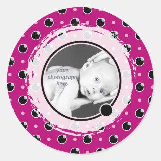 Sassy Polka Dots Photo Template Sticker - Purple