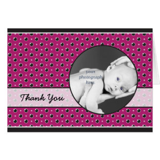 Sassy Polka Dots Photo Thank You Card - Purple