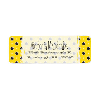 Sassy Polka Dots Return Address Label - Yellow