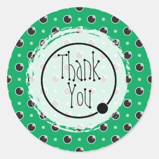 Sassy Polka Dots Thank You Sticker - Green
