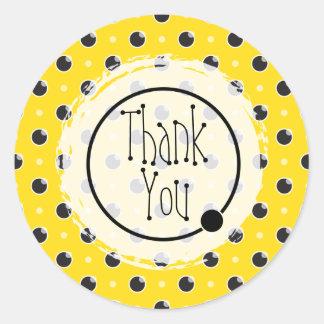 Sassy Polka Dots Thank You Sticker - Yellow