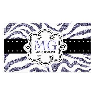 Sassy Purple Glitter Look Zebra ZigZags Pack Of Standard Business Cards