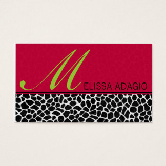 Sassy Red and Giraffe Print Business Card