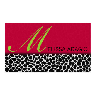 Sassy Red and Giraffe Print Business Cards