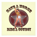 Sassy Retro Cowgirl Bachelorette Party Invitation