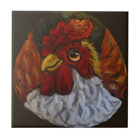 Sassy Rooster Small Square Tile