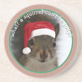 Sassy Santa Squirrel™ Speaks Sarcasm Christmas Coaster