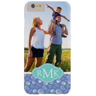 Sassy Seashell Pattern| Your Photo & Monogram Barely There iPhone 6 Plus Case