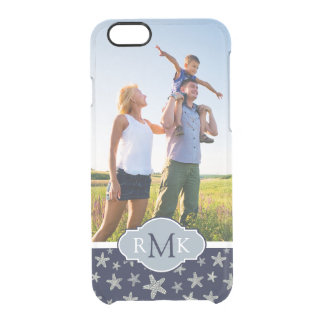 Sassy Seashell Pattern| Your Photo & Monogram Clear iPhone 6/6S Case